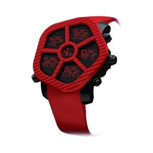 ジェイコブ ゴースト JC-GST-CBNRD カーボンカラーレッド 腕時計 メンズ JACOB&CO GHOST デジタル 5time zone|euro