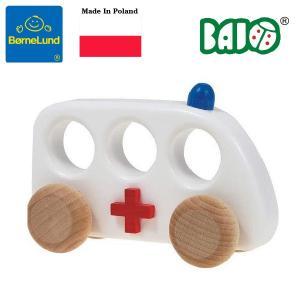Bornelund ボーネルンド BAJO バヨ プッシュトーイ 木の救急車 ~ 出産祝いや1歳、2歳の誕生日やクリスマスプレゼントに。|eurobus