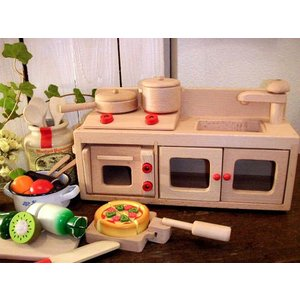 【ままごと おままごとキッチン 木製キッチンセット】  卓上サイズのコンパクトな木製おままごとキッチ...
