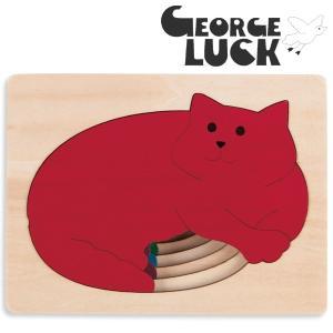 George Luck ジョージラック 木製ステップパズル ねこ|eurobus