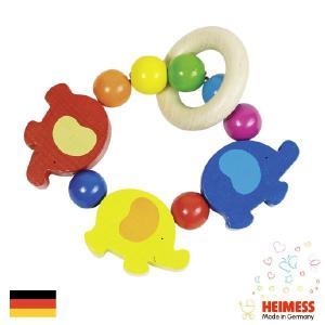 [メール便可] Heimess ハイメス リングラトル エレファント  | 出産祝い人気のドイツ製、Heimess(ハイメス)の握っても振っても楽しい、カラフルな木製ビーズの|eurobus