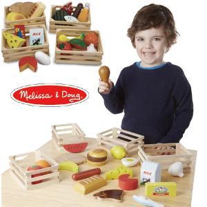 Melissa & Doug メリッサ&ダグ カッティングフードセット 木製ままごと ~ 3歳、4歳のお誕生日プレゼントやクリスマスプレゼント。|eurobus