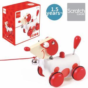 Scratch スクラッチ プルトーイ プルアロングドック ジャック ~ 出産祝い、ハーフバースディ、1歳、2歳の男の子、女の子。|eurobus
