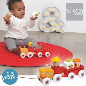 Scratch スクラッチ トラクター シャールズ 積み木プルトーイ ~ 出産祝い、ハーフバースディ、1歳、2歳の男の子、女の子。|eurobus
