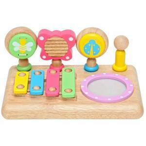 初めての音遊びにピッタリな子供用楽器5種類セット。ベビーサイズのミニ楽器がギュッと詰まった木製ミュー...