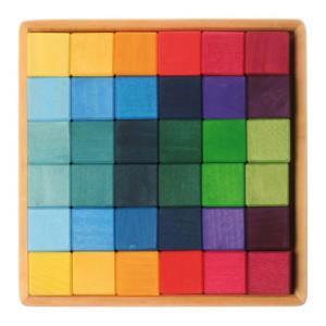 Grimm's Spiel & Holz Design グリムス社 にじのキューブ カラーキューブ 小 36p|eurobus