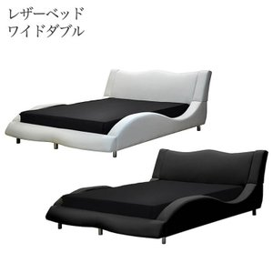 ベッド ベッドフレーム ワイドダブル WD 革張り 白 黒 ホワイト ブラック ハイバック 背もたれ...