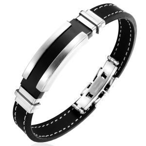 ブレスレット ベルトブレスレット バングル 腕輪 メンズ レディース ブラック 黒色 シルバー 銀色 ひも ライン スチール シリコン 男性 金属アレルギー対応|eurokohaku