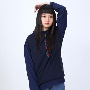 【FLOWER by RADIO EVA 016】 NERV Layered Long T-Shirt/NAVY[お届け予定:2020年2月下旬]|evastore