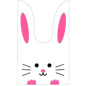 かわいい耳付き袋(大) 白うさぎ(ピンク) 50枚入|event-goods