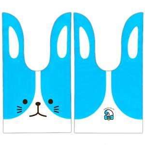 かわいい耳付き袋(中) うさぎツートン(ブルー) 50枚入|event-goods