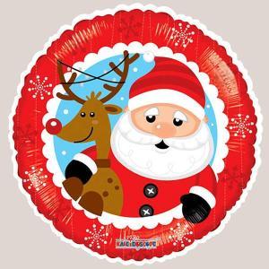 クリスマス風船 サンタとトナカイ 45cm [バルーン 飾り デコレーション]|event-ya