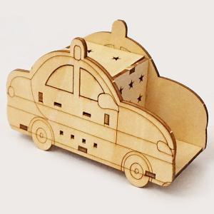 木製工作キット お絵かきパトカー LEDライト付き 10個 / 手作り工作 色塗り お絵描き|event-ya