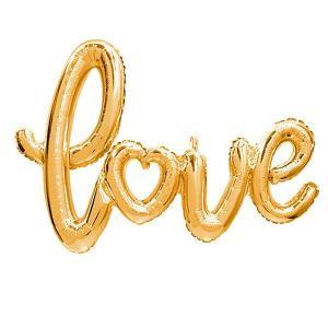 文字バルーン 「love」ラブスクリプト ゴールド/金|event-ya