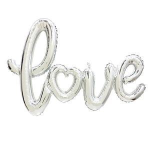 文字バルーン 「love」ラブスクリプト シルバー/銀|event-ya