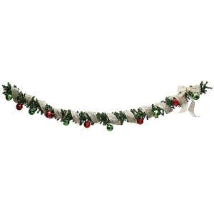 クリスマス装飾 リボンロールガーランド レッド・グリーンボール L195cm|event-ya