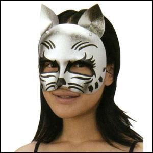 パーティお面 銀キャッツ[猫・ネコ]  / マスク・かぶりもの・仮面|event-ya