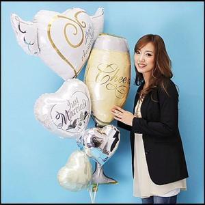 【結婚祝い】ウエディングバルーンギフト ハートウィズウィング [大型商品160cm以上]|event-ya