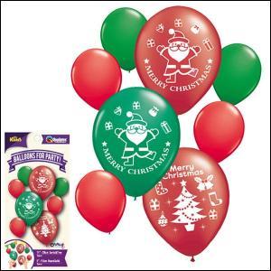 クリスマスゴム風船 大小カラフルアソート(8枚入) / バルーン/バルーン 飾り デコレーション/メール便5枚まで可|event-ya