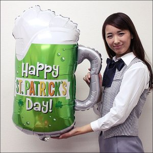 セントパトリックスデーバルーン グリーンビールジョッキ H74cm /メール便5枚まで可|event-ya