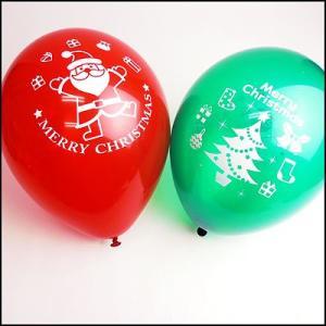 クリスマス装飾丸ゴム風船 サンタとツリーバルーン28cm 12個/ 動画有/バルーン 飾り デコレーション/メール便可|event-ya