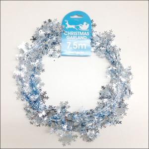 装飾用ワイヤーガーランド スノーフレーク 750cm 【クリスマス・ディスプレイ・飾り】|event-ya