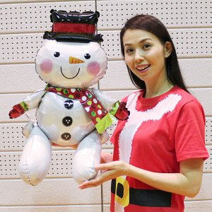 クリスマス風船 お座りスノーマン H53cm / バルーン 雪だるま 飾り デコレーション event-ya