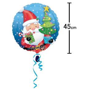 クリスマス装飾丸風船 サンタwithツリー【リボン付】 45cm /バルーン 飾り デコレーション/メール便可|event-ya