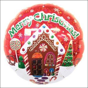 [在庫限り]クリスマス装飾丸風船 ジンジャーブレッドハウス【リボン付】 45cm【バルーン・ディスプレイ・飾り】|event-ya