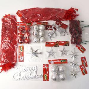 【在庫限り!特価品】クリスマスツリー装飾 オーナメントセット フェザーレッド / 飾り デコレーション|event-ya