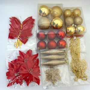 【在庫限り!特価品】クリスマスツリー装飾 オーナメントセット フェザーゴールド / 飾り デコレーション|event-ya