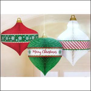 吊下げデコレーション  ハニーカムオーナメント3個セット / クリスマス 装飾 飾り|event-ya