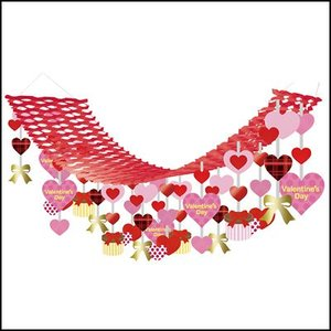 バレンタイン装飾 チェックハートハンガー L180cm|event-ya