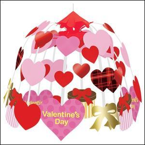 [在庫限り] バレンタイン装飾 ラブリーチェックハート2段センター W60cm / 飾り ディスプレイ|event-ya