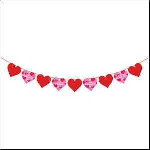 バレンタイン装飾 赤いハートとピンクのハートバナー L180cm / 飾り ディスプレイ|event-ya