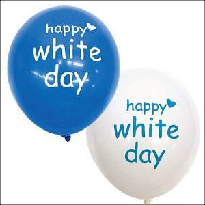ホワイトデーバルーン 丸型ゴム風船 青+白セット 50個 |ゴム風船 文字入り 配布用風船 店頭装飾|event-ya