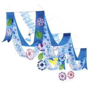 アジサイプリーツ2連ペナントハンガー L160cm / 装飾 飾り ディスプレイ 紫陽花 梅雨|event-ya