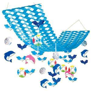 夏のマリンブルー装飾 シェル&ドルフィンプリーツハンガー / 海 ディスプレイ 飾り|event-ya