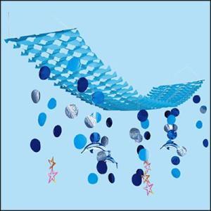 夏のマリンブルー装飾 イルカ水滴プリーツハンガー  L150cm [夏・海・ディスプレイ・装飾・飾り]|event-ya
