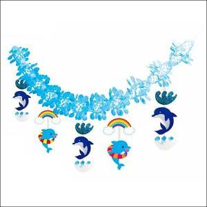 夏のマリンブルー装飾 サマードルフィン ガーランド   L180cm [夏・海・ディスプレイ・装飾・飾り]|event-ya