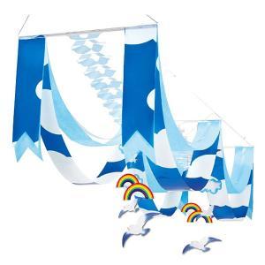 夏のマリンブルー装飾 青空カモメサマーペナント2連ハンガー|event-ya