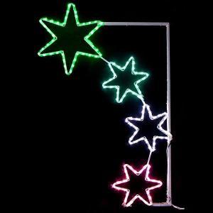【在庫限り!特価品】LEDイルミネーション チューブライト4連スター 60cm×110cm|event-ya