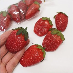 リアル いちご 約5cm 10個 / 苺 イチゴ 飾り 装飾 ディスプレイ 春|event-ya