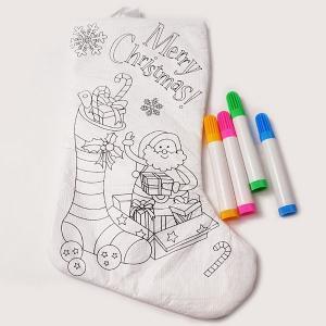 クリスマス手作り工作キット クリスマスプレゼント用ぬりえ色塗りくつ下 / 動画有|event-ya