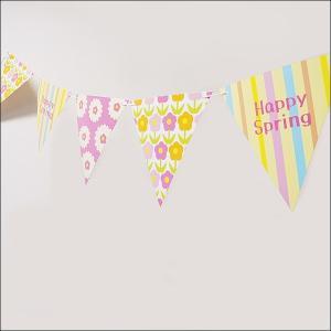 春の装飾 スプリング紙製フラッグガーランド L180cm / 飾り ディスプレイ/メール便4点まで可|event-ya