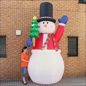 クリスマスエアブロー装飾 ジャンボスノーマン&ツリー H360cm×W200cm/ 動画有|event-ya