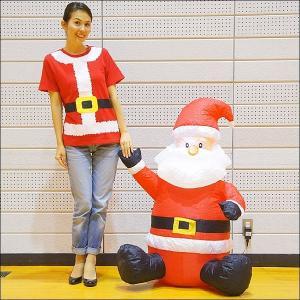 クリスマスエアブロー装飾 ミニサンタ H120cm×W83cm / ディスプレイ エアブロウ|event-ya