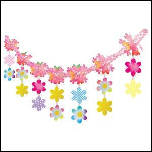 春の装飾 スプリングPOPフラワーガーランド L180cm / 飾り 装飾 ディスプレイ 春|event-ya