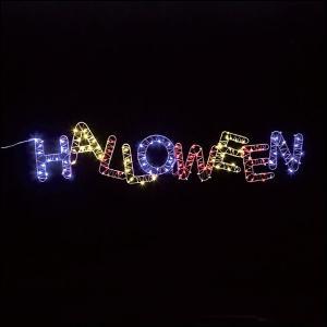 ハロウィン装飾 LEDモチーフライト「ハロウィン」 自動タイマー式 W90cm/動画有|event-ya