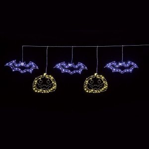 ハロウィン装飾 LED5連ライト「パンプキン&こうもり」 自動タイマー式 W180cm/動画有|event-ya